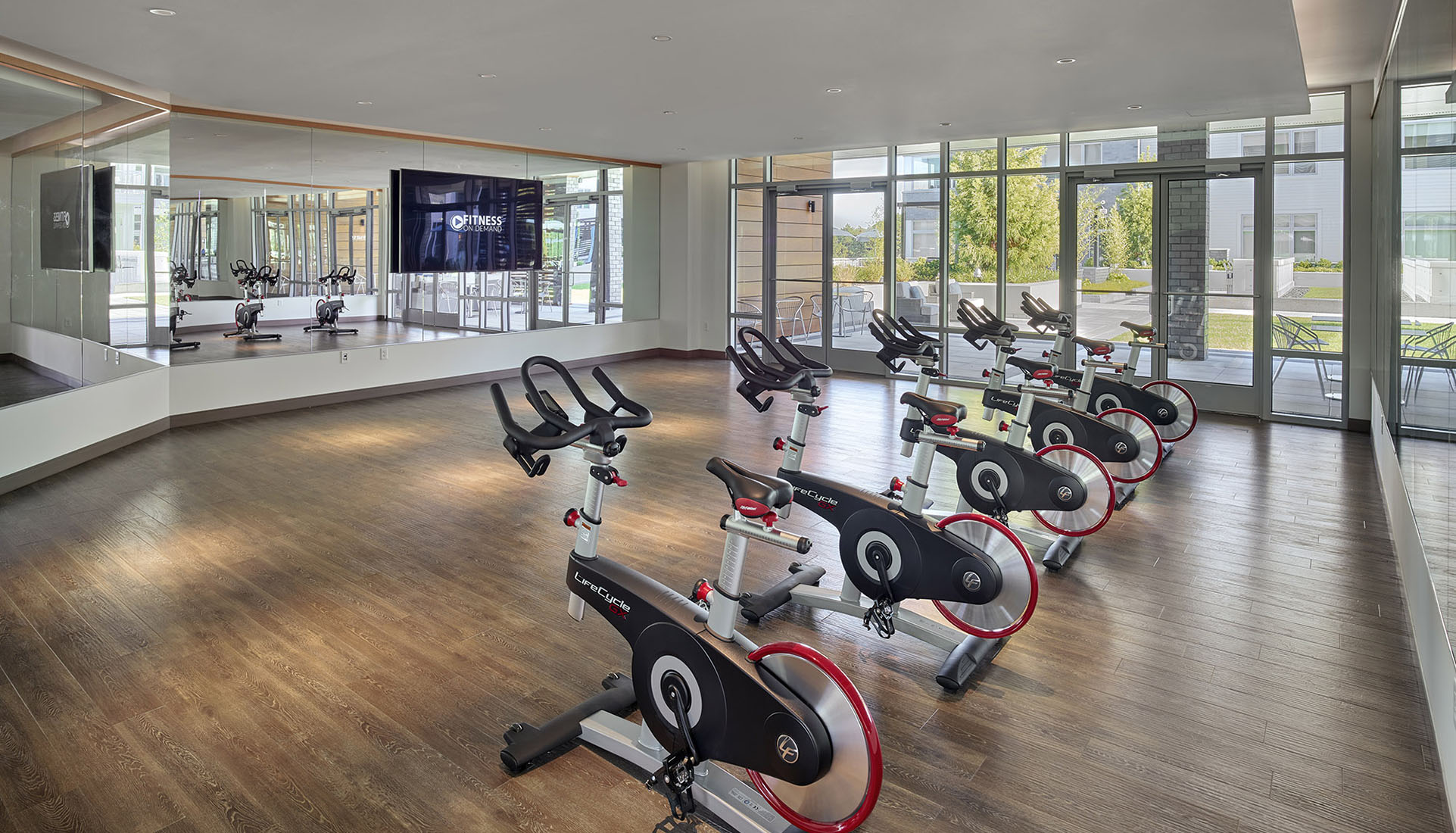 AVE Florham Park Fitness studio space with Fitness OnDemand and spin bikes