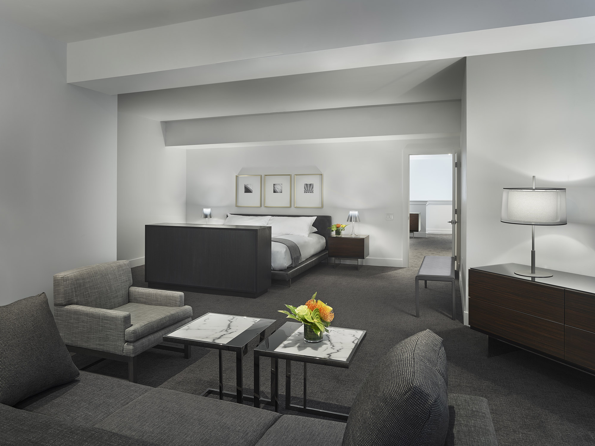 The Franklin Residences furnished Penthouse bedroom with sitting area