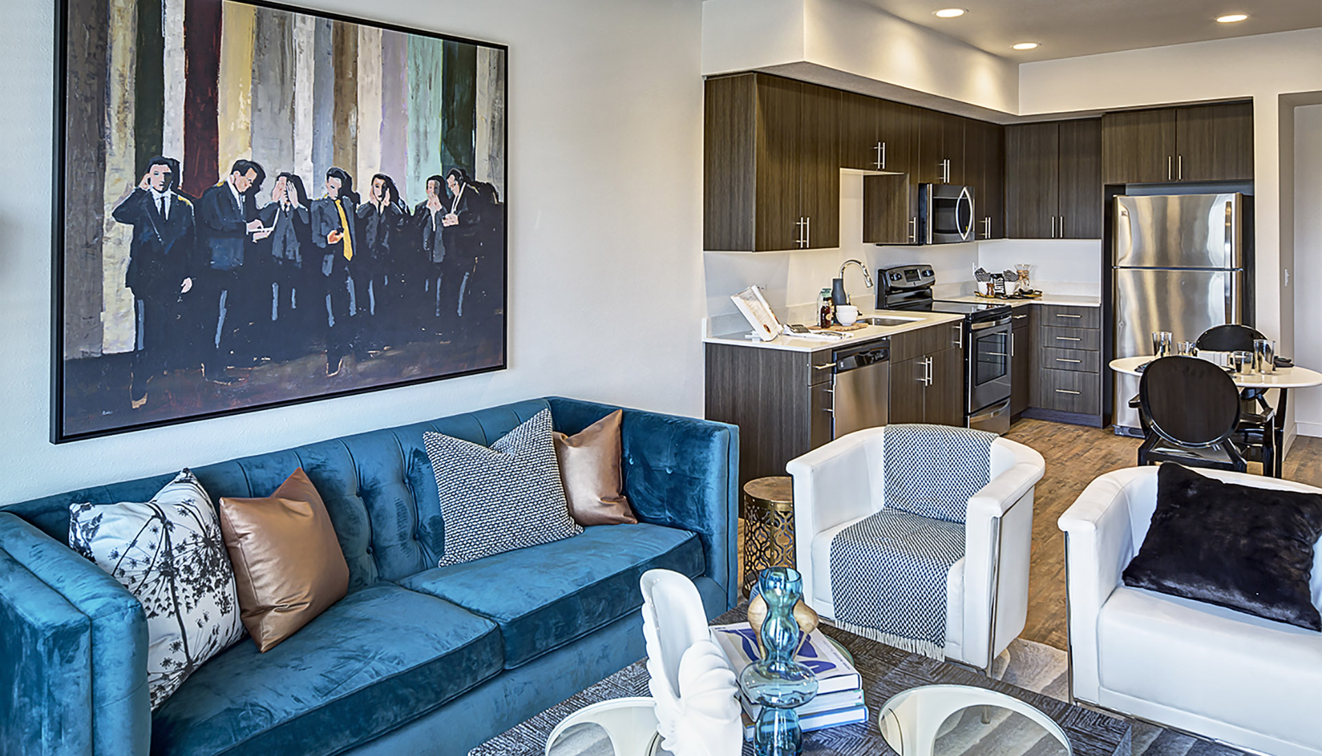Luxury apartment living room at AVE Walnut Creek