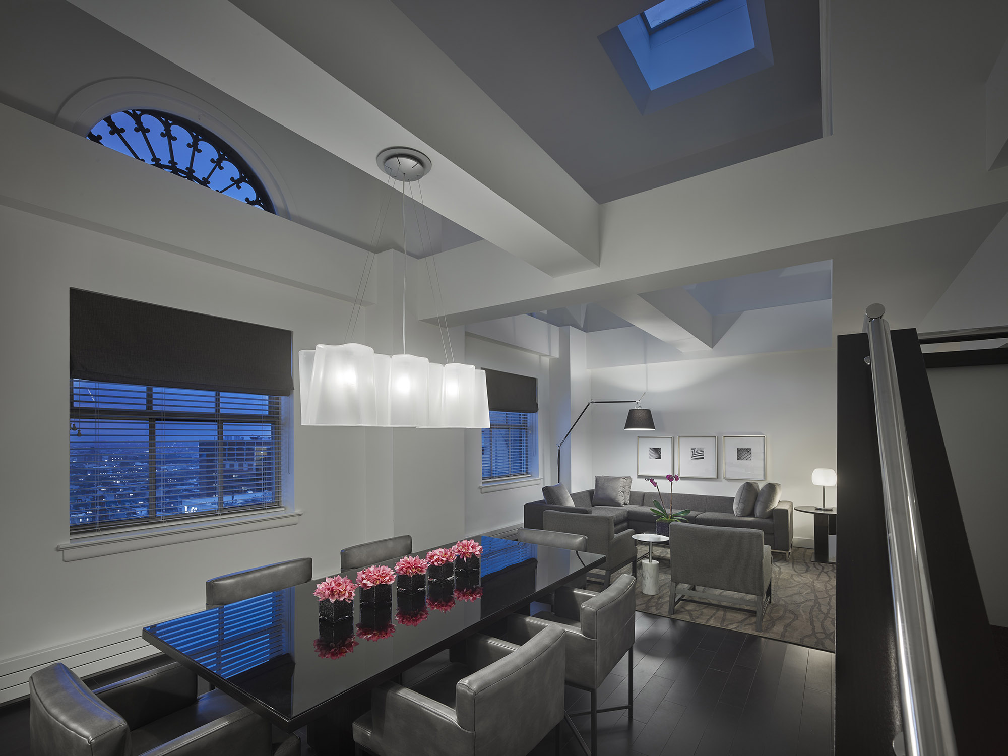 The Franklin Residences bi-level Penthouse at dusk