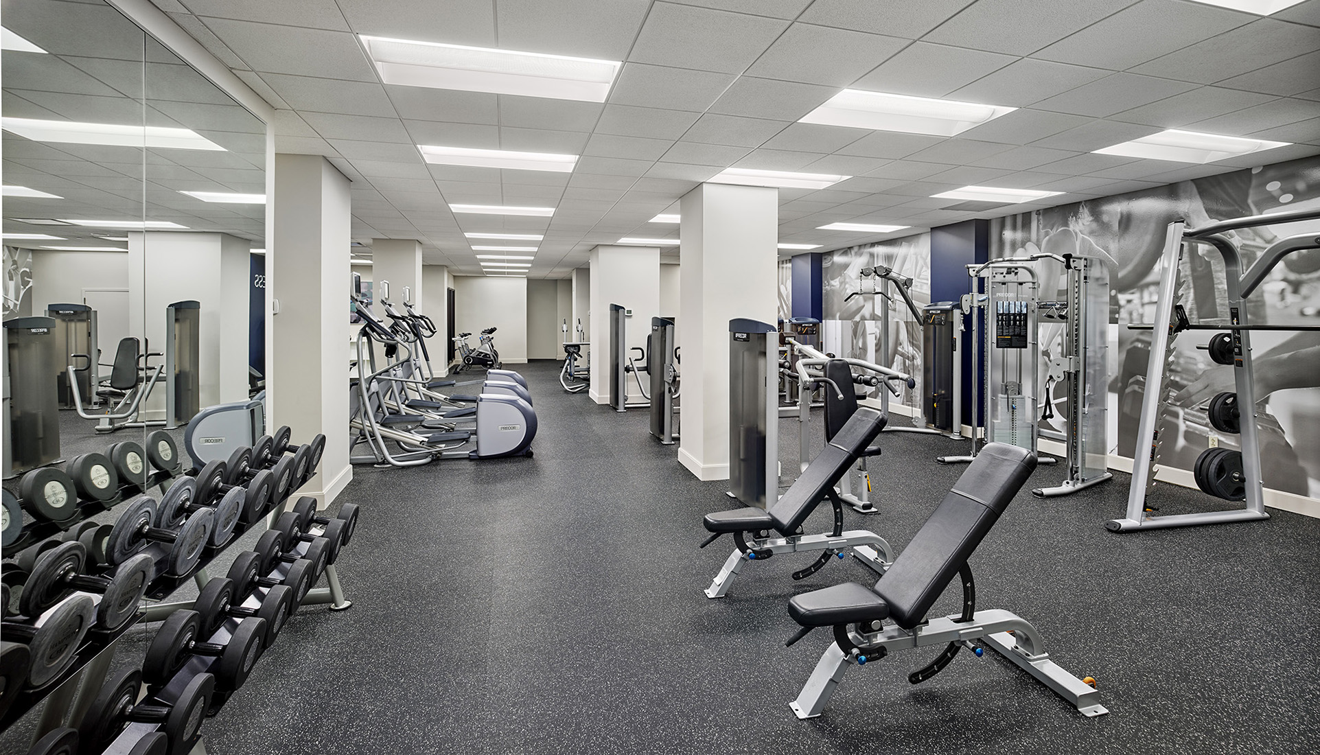 Fitness center at the Franklin Residences in Philadelphia with state-of-the-art equipment