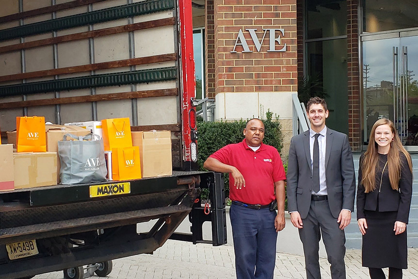 AVE works with Move For Hunger to collect food donations