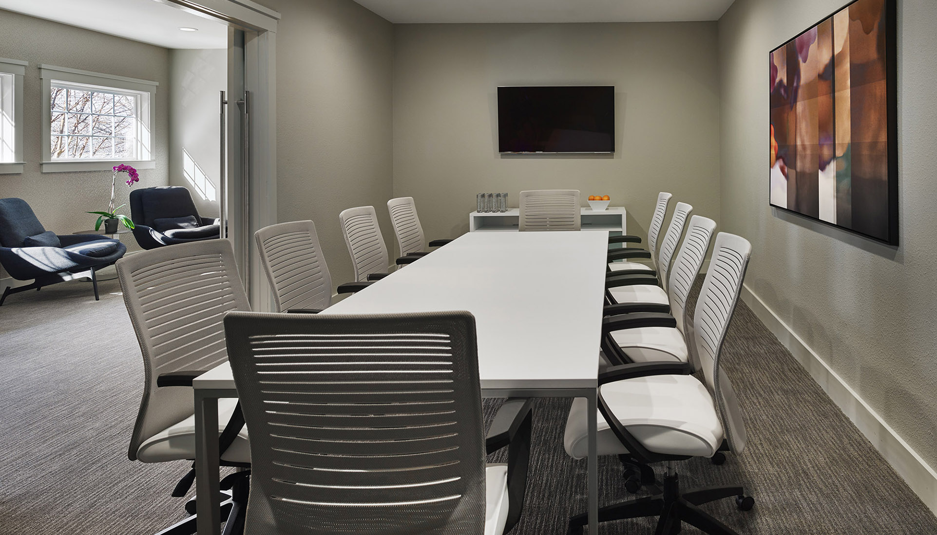 Large conference room with a screen